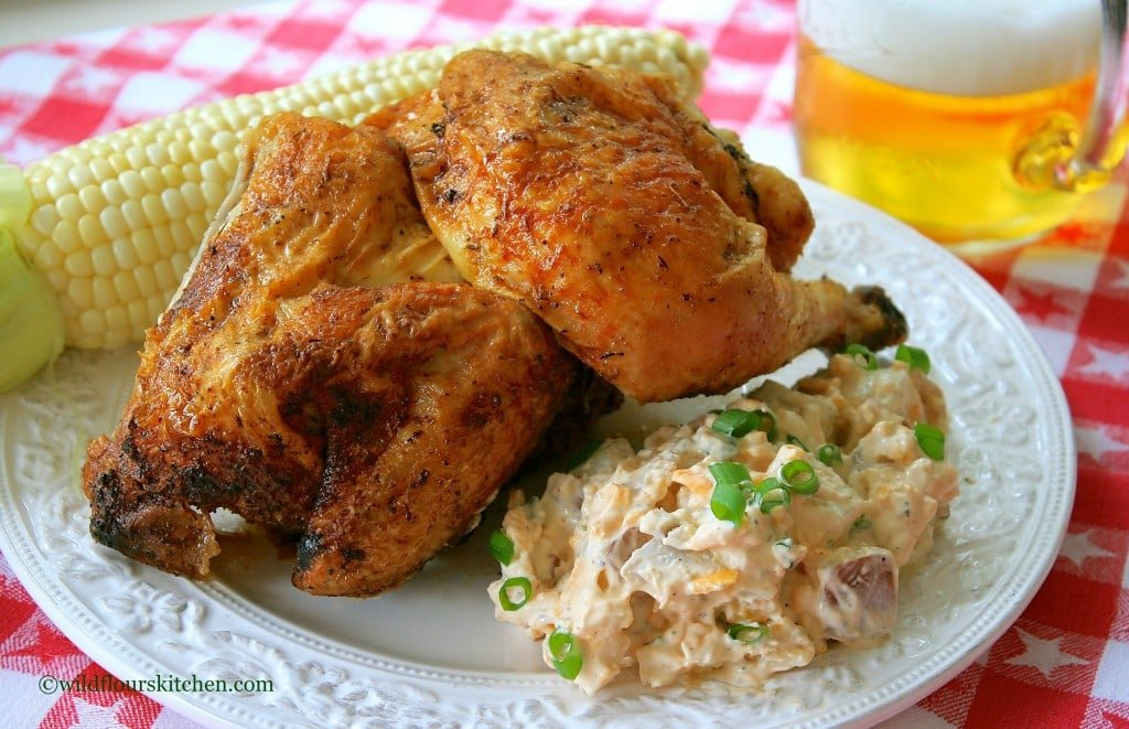 beer can chicken plated