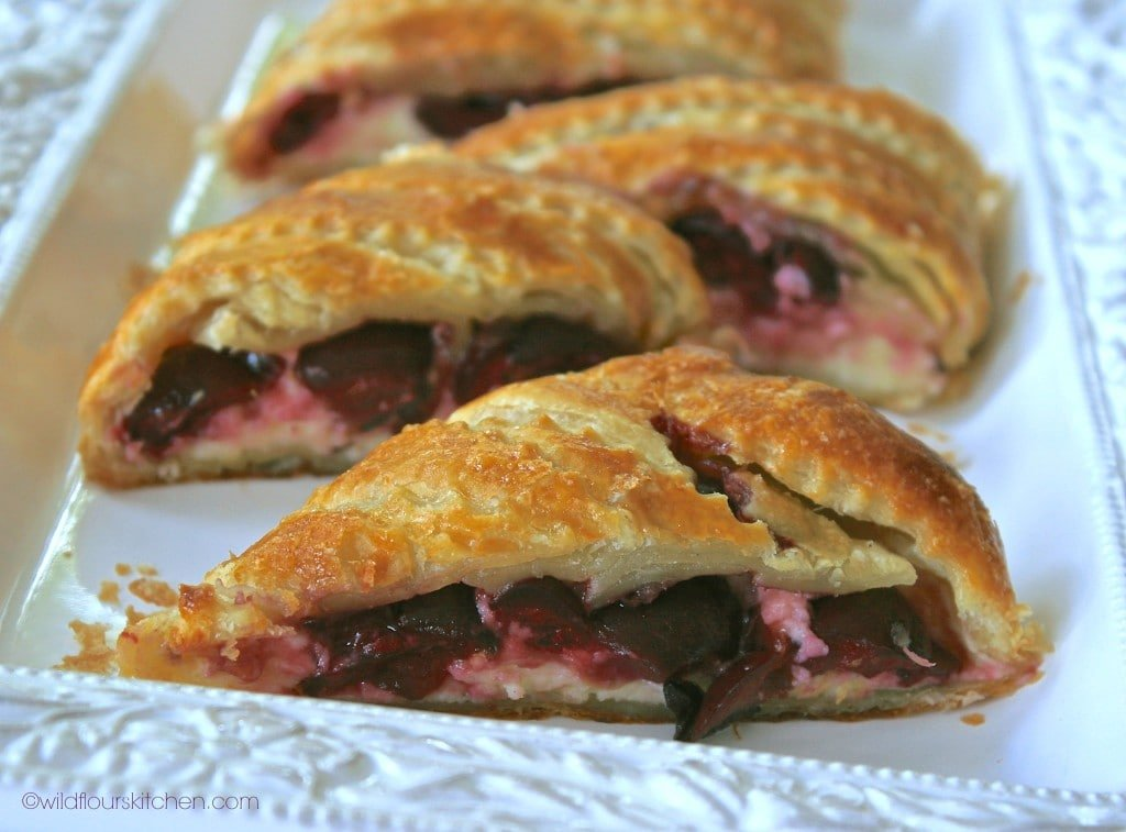 bing cherry strudel slices close