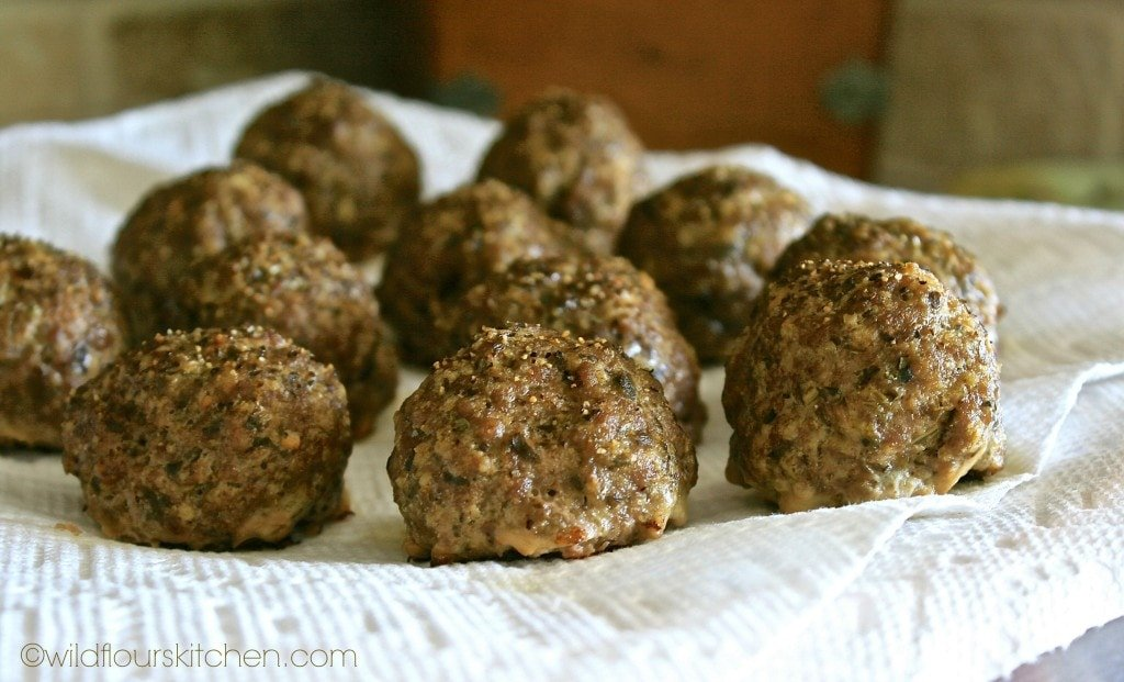 pesto meatballs draining