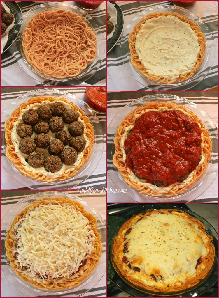 spaghetti pie collage