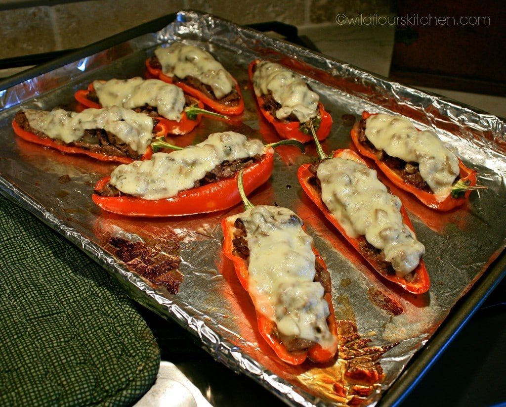 cheesesteak peppers baked