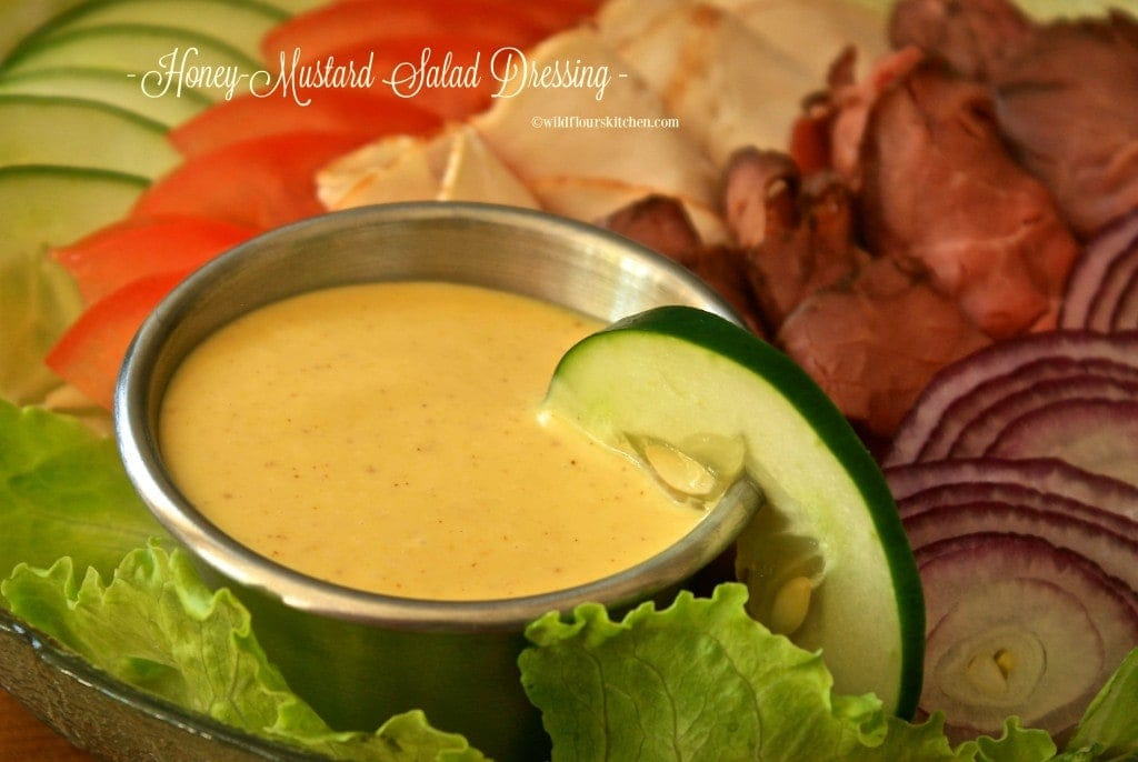 honey mustard dressing close up