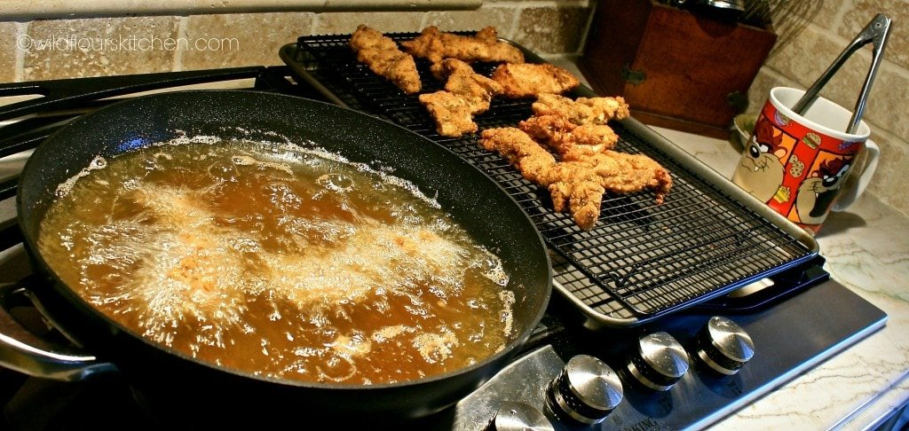 pesto chicken frying
