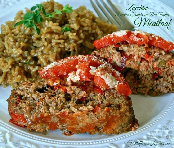 Zucchini, Roasted Tomato & Red Pepper Meatloaf