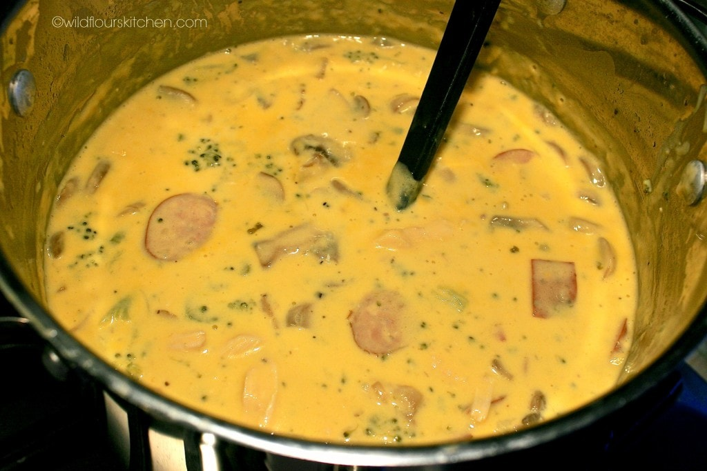 broccoli cheddar sausage soup 2