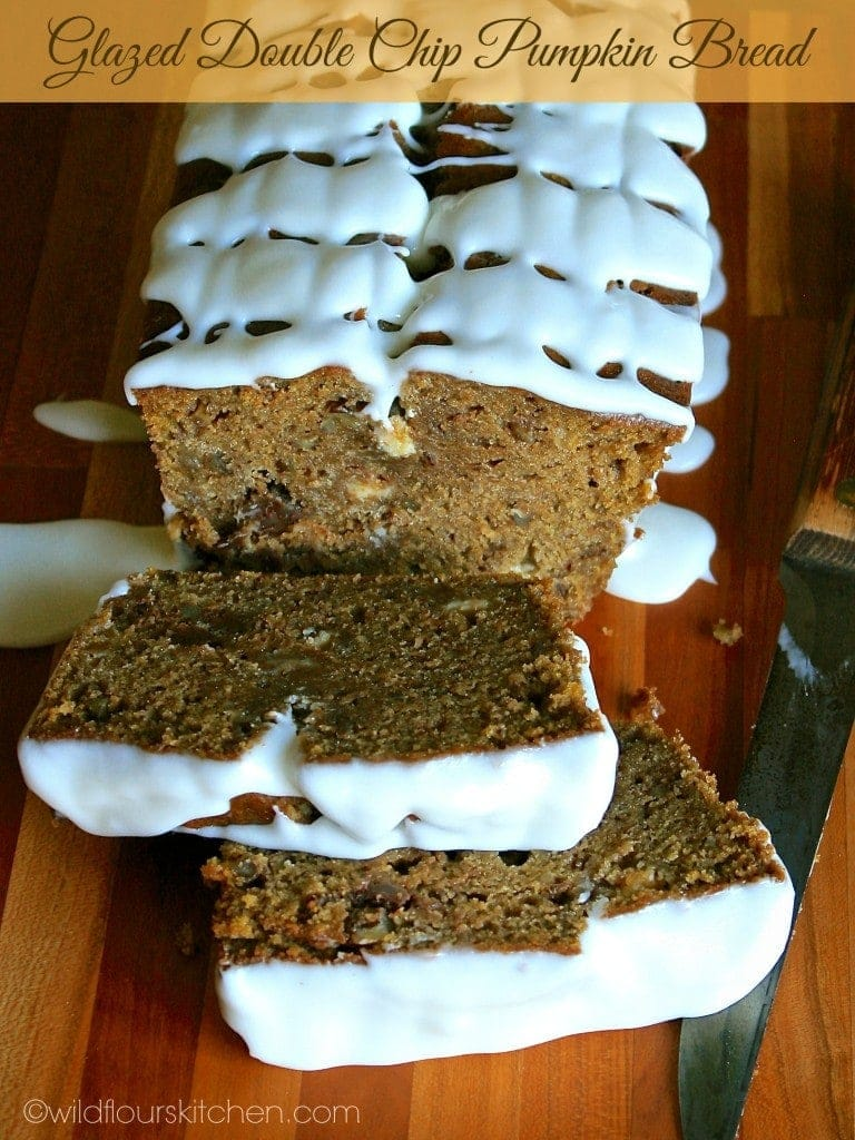 glazed double chip pumpkin bread