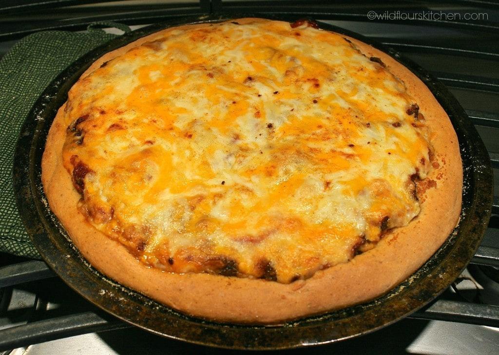 taco pizza baked