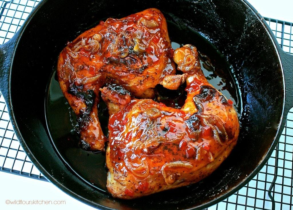 bbq pepper jelly chicken skillet