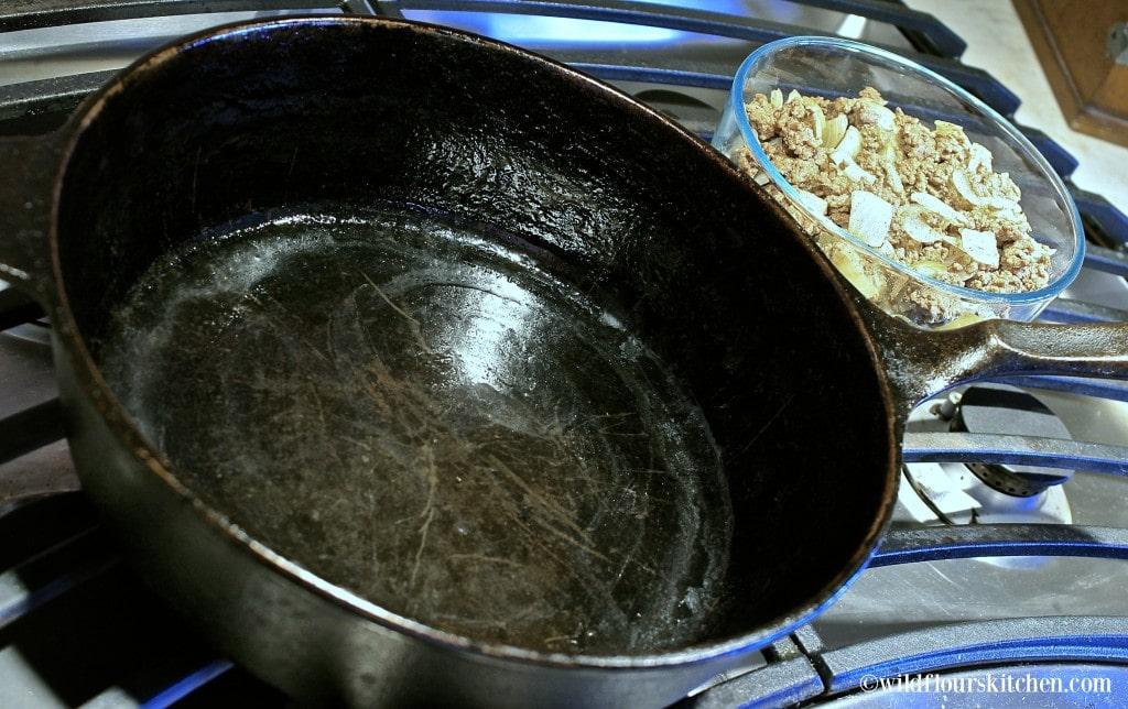 buttered cast iron pan