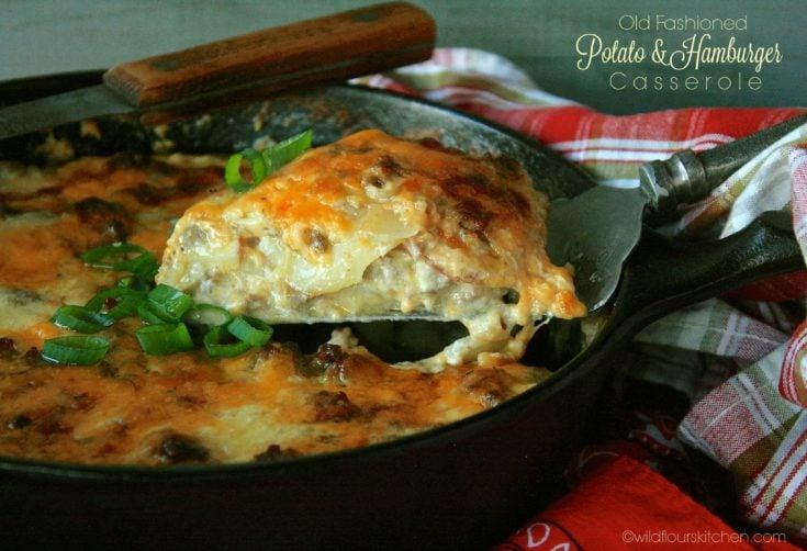 Old-Fashioned Cheesy Scalloped Potato & Hamburger Casserole ~ The Secret Recipe Club