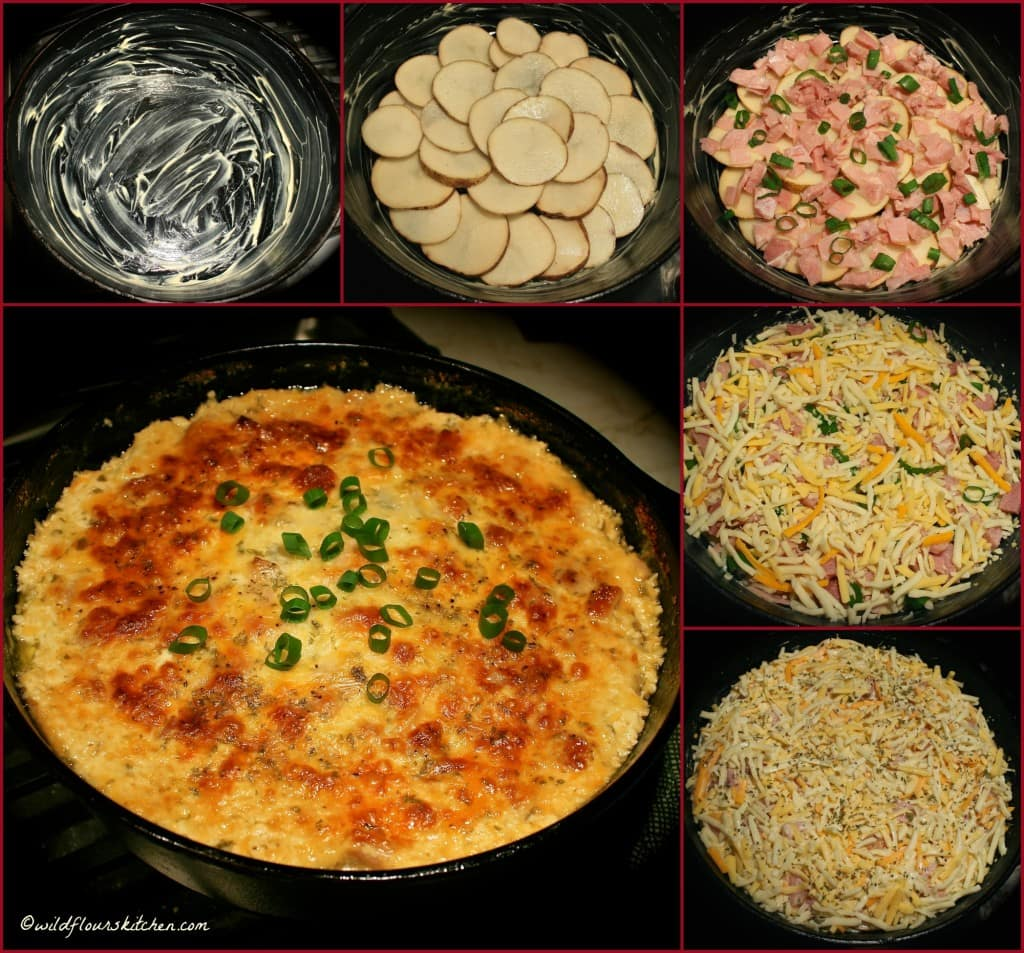 ham & potato pie collage