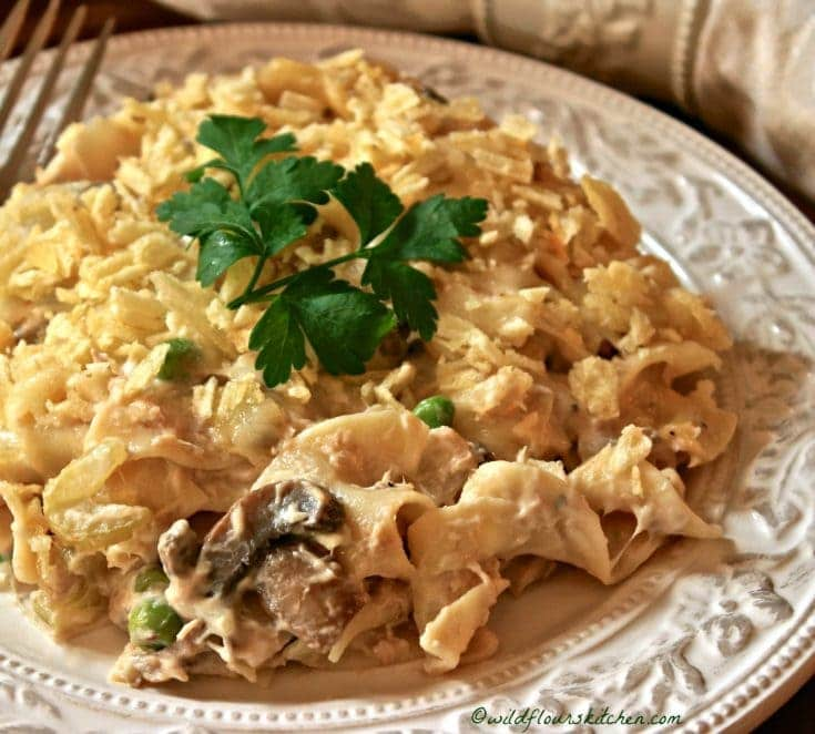 Old-School Tuna Noodle Casserole with Potato Chips 'n Peas