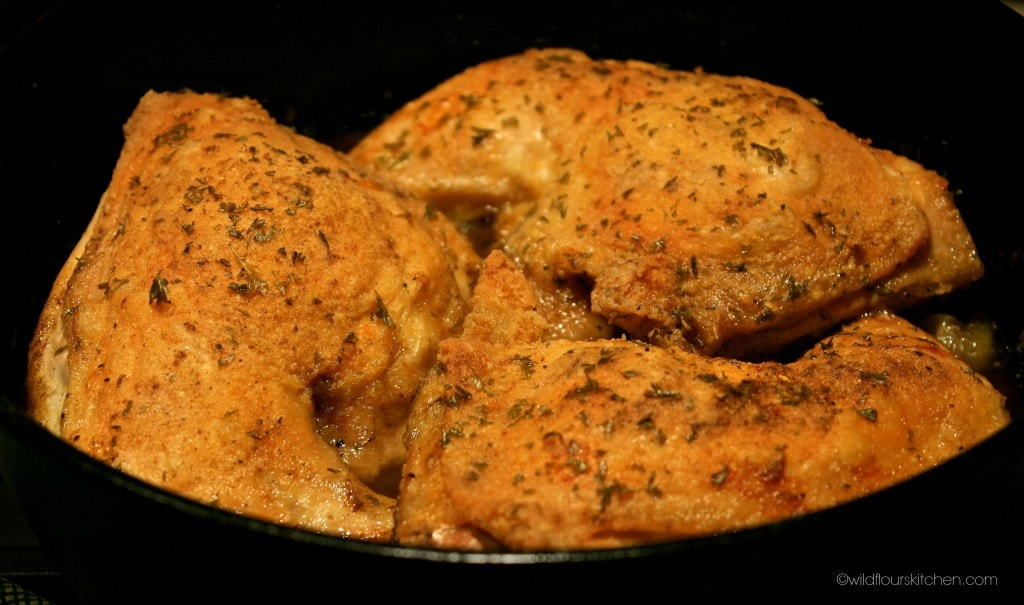 cast iron skillet chicken quarters