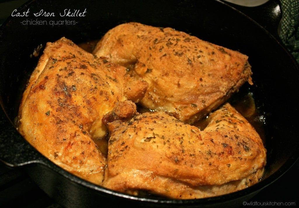 Crispy Cast Iron Skillet Roast Chicken Quarters