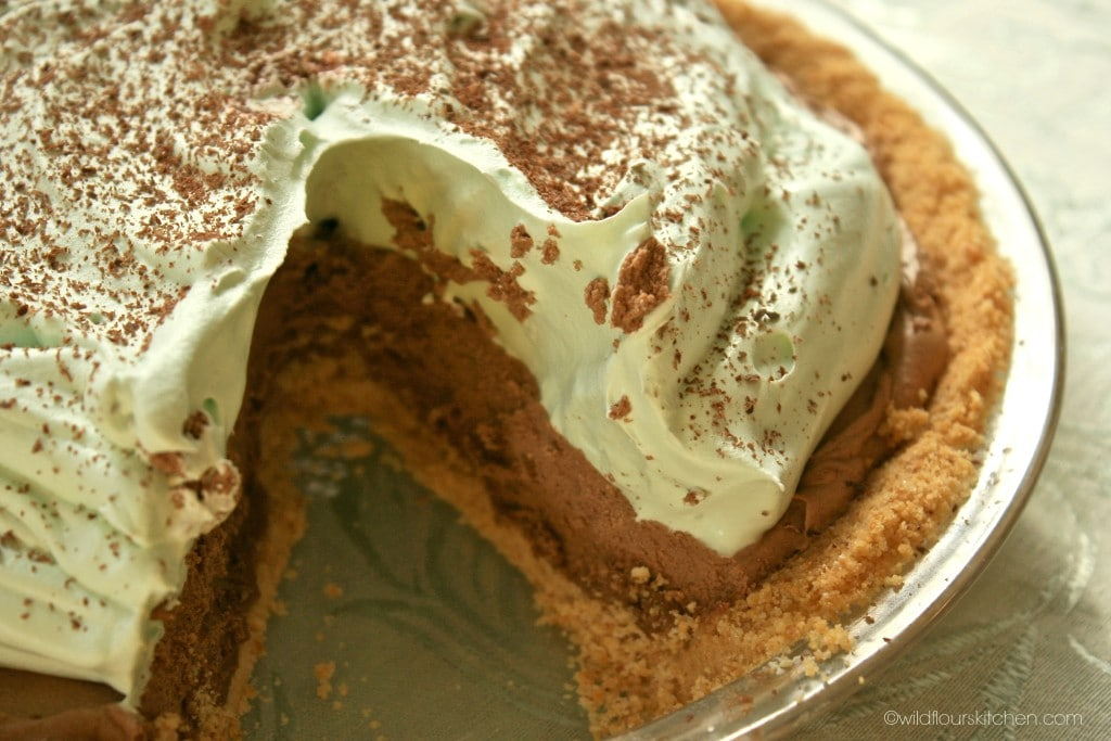 choc mint pie close up