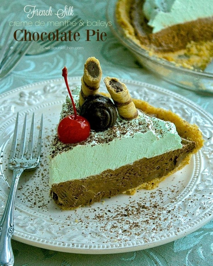 Creme de Menthe & Baileys French Silk Chocolate Pie