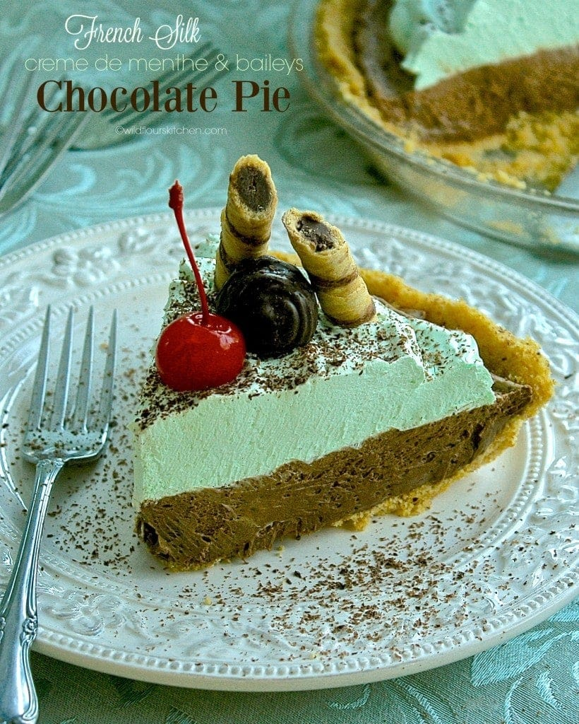 chocolate mint pie slice
