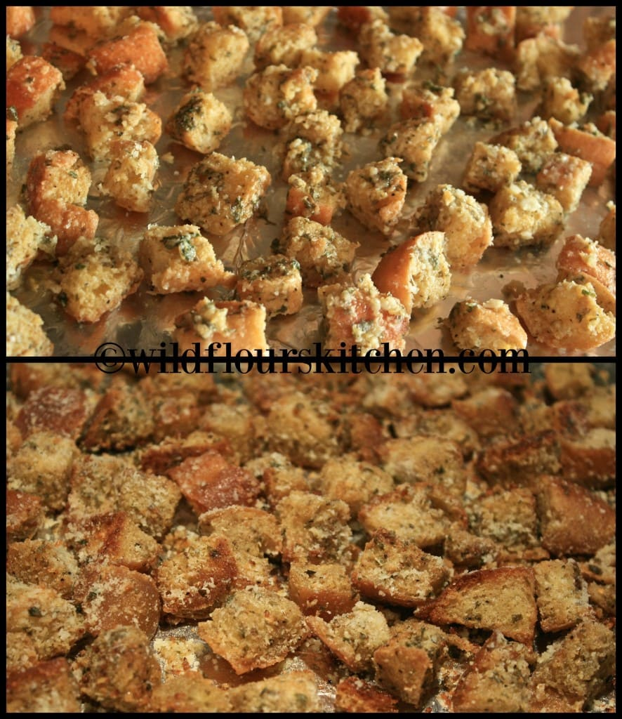 mustard croutons before & after