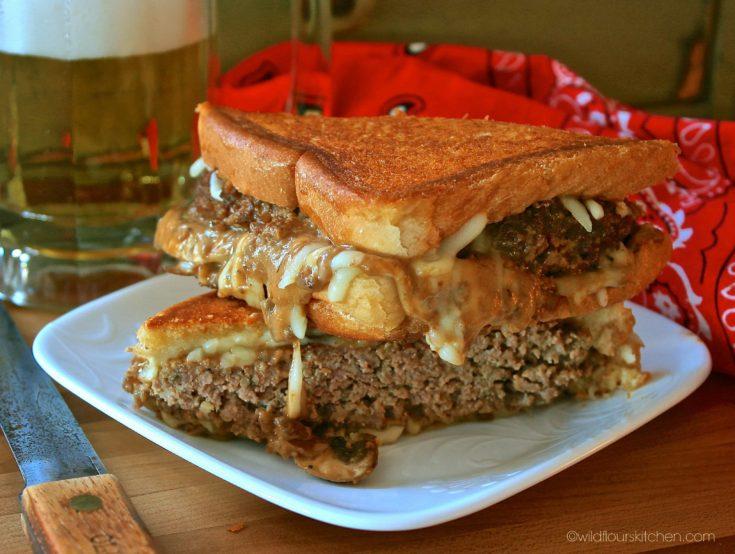 Salisbury Steak Grilled Cheese Sandwiches on Texas Toast with Mozzarella & Provolone