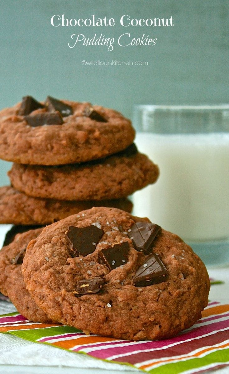 Chocolate Coconut Pudding Cookies (think Mounds & Almond Joy!)