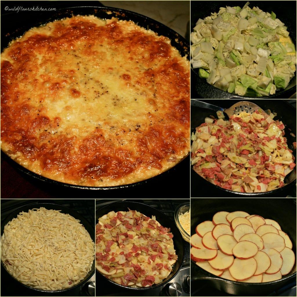corned beef colcannon casserole collage
