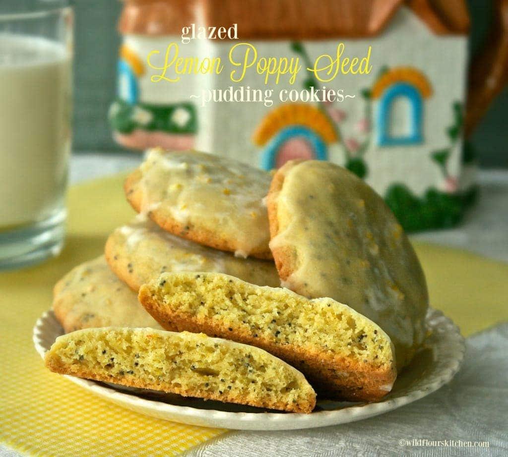 Glazed Lemon Poppy Seed Pudding Cookies - Wildflour's Cottage Kitchen