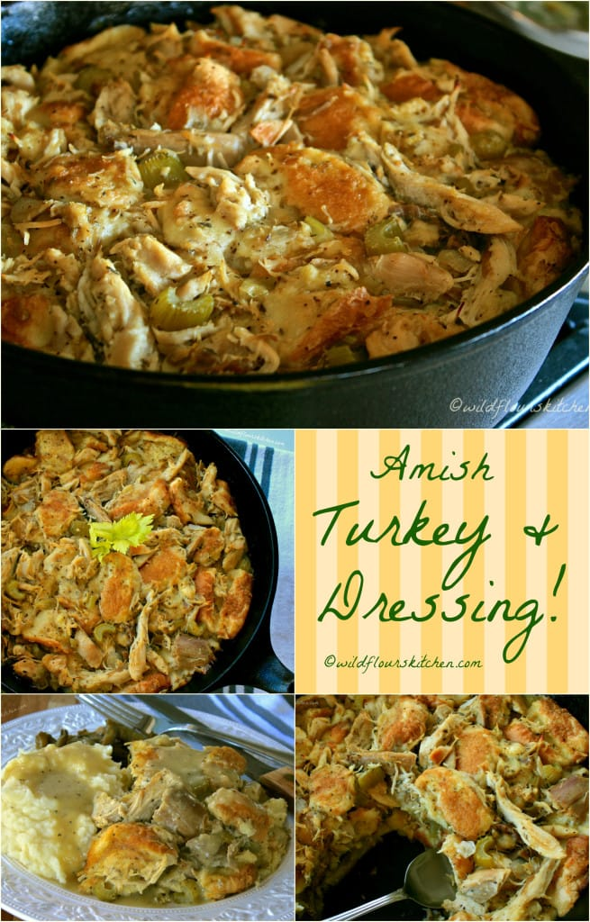 amish turkey dressing collage