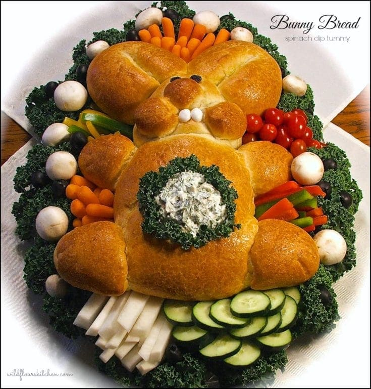 Easter Bunny Bread with Dip Filled Tummy