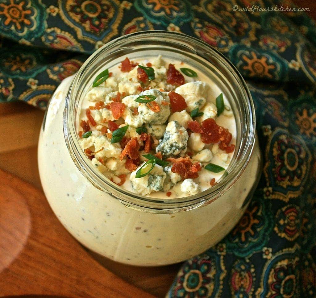 Chunky Gorgonzola Salad Dressing with Whole Grain Mustard, Bacon, Scallions & Chardonnay!