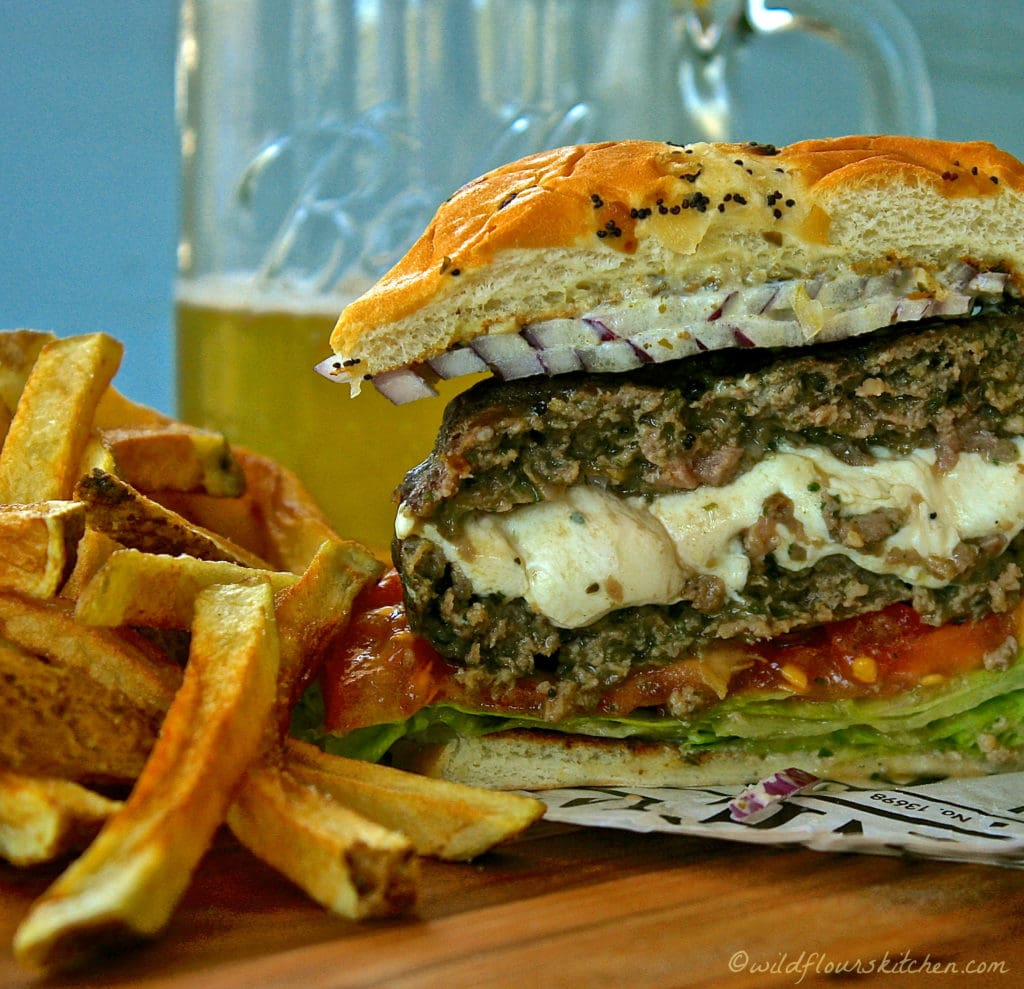 Mozzarella Stuffed Pesto Burgers!