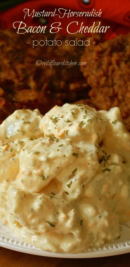 Mustard Horseradish Potato Salad with Bacon & Cheddar!
