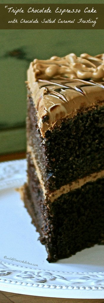 Triple Chocolate Espresso Cake with Chocolate Salted Caramel Frosting!