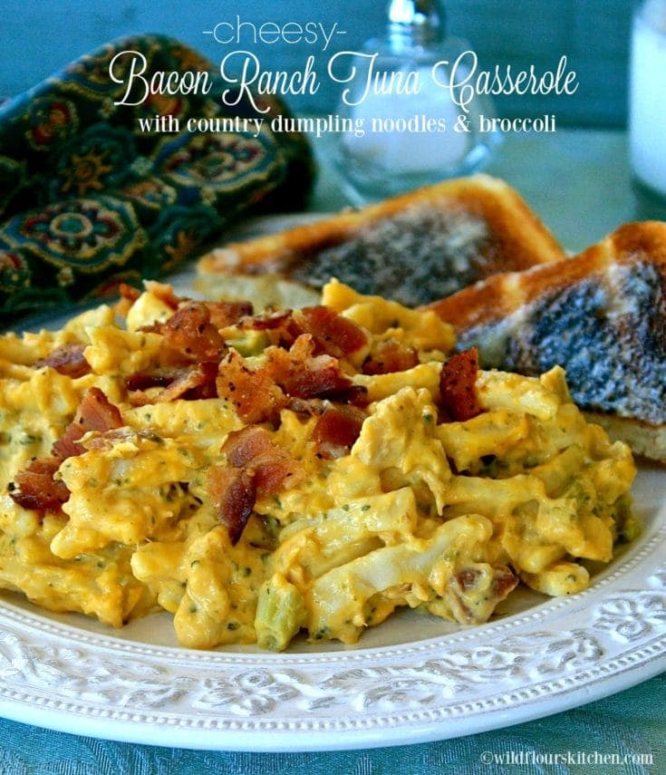 Cheesy Bacon Ranch Tuna Casserole with Country-Style Dumpling Noodles & Broccoli