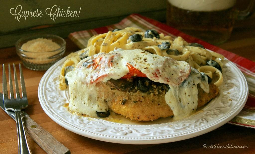 caprese chicken mushroom & olive
