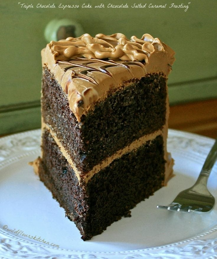 Triple Chocolate Espresso Cake with Chocolate Salted Caramel Frosting