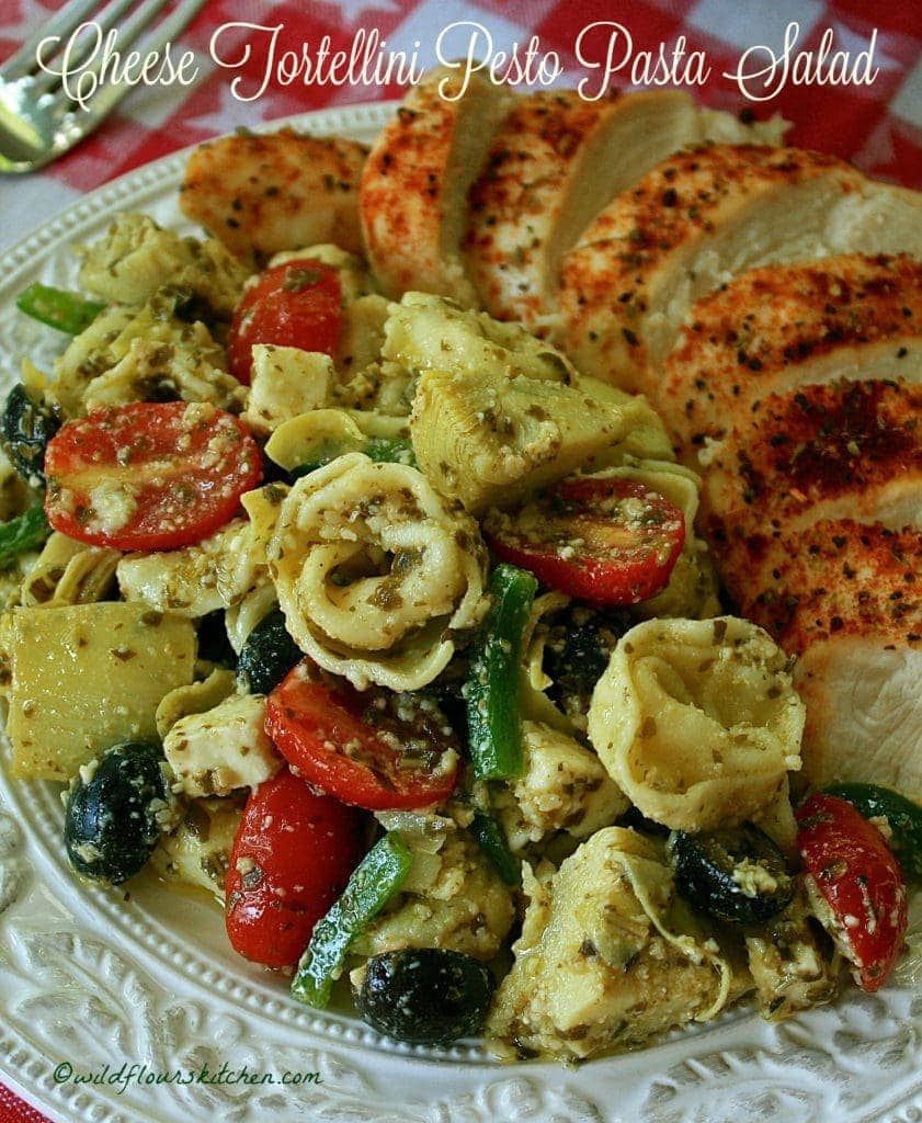Cheese Tortellini Pesto Pasta Salad!
