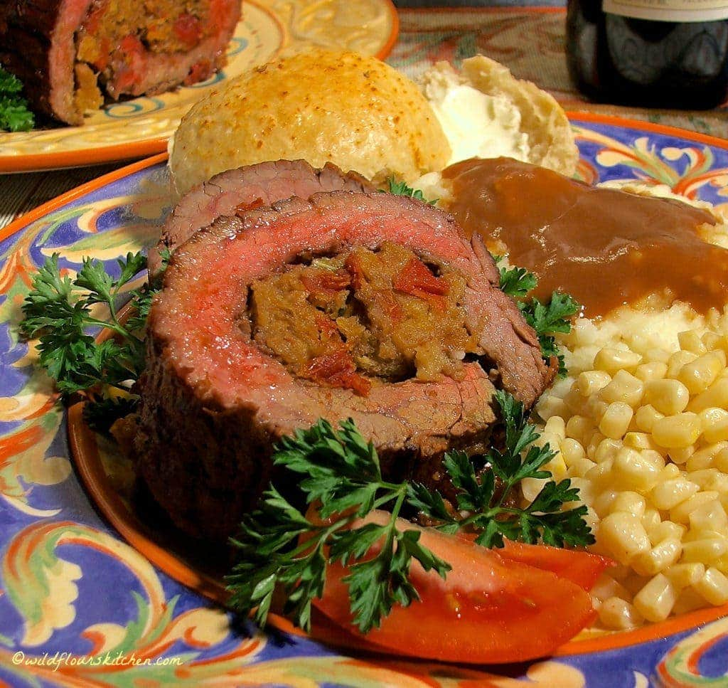 Steak Pinwheels with Tomato Artichoke Stuffing