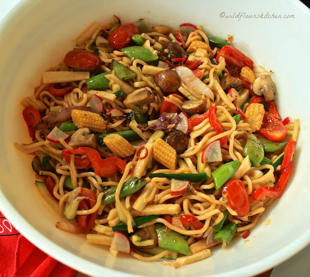 grilled veggies with noodles