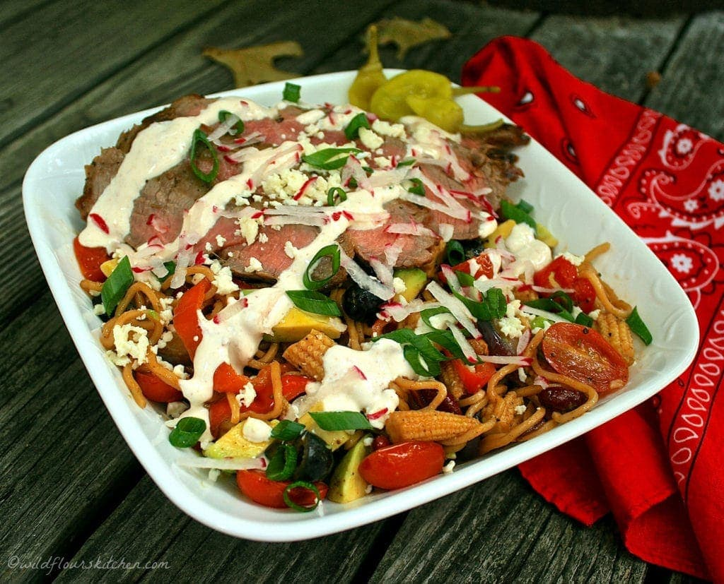 %22The Asian Cowboy%22 Yakisoba Noodle salad with carne Asada.jpg