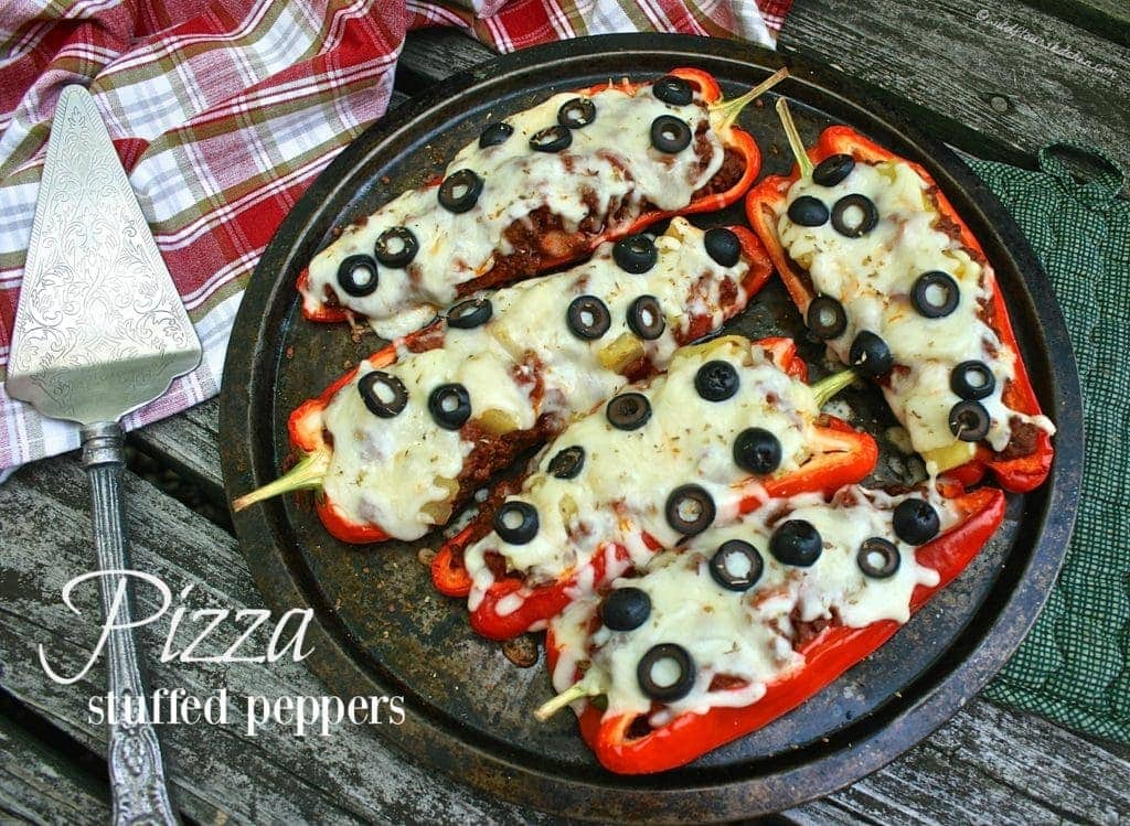 Four Meat Four Cheese Stuffed Pizza Peppers!
