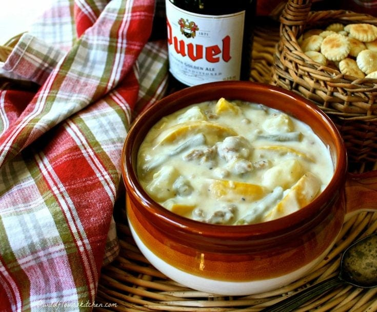 Thick and Creamy Yellow Squash Red Potato and Green Bean Soup with Sausage
