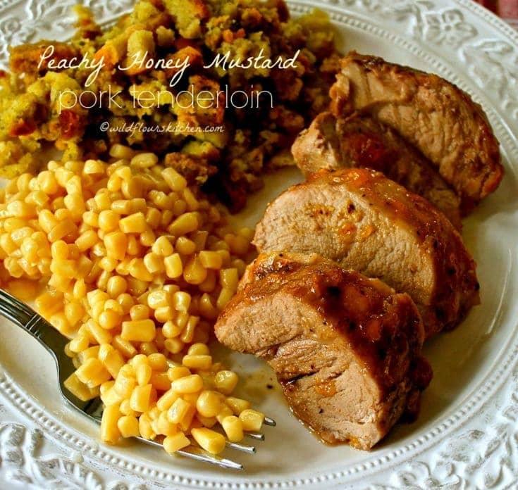Easy Peachy Honey Mustard Roast Pork Tenderloin