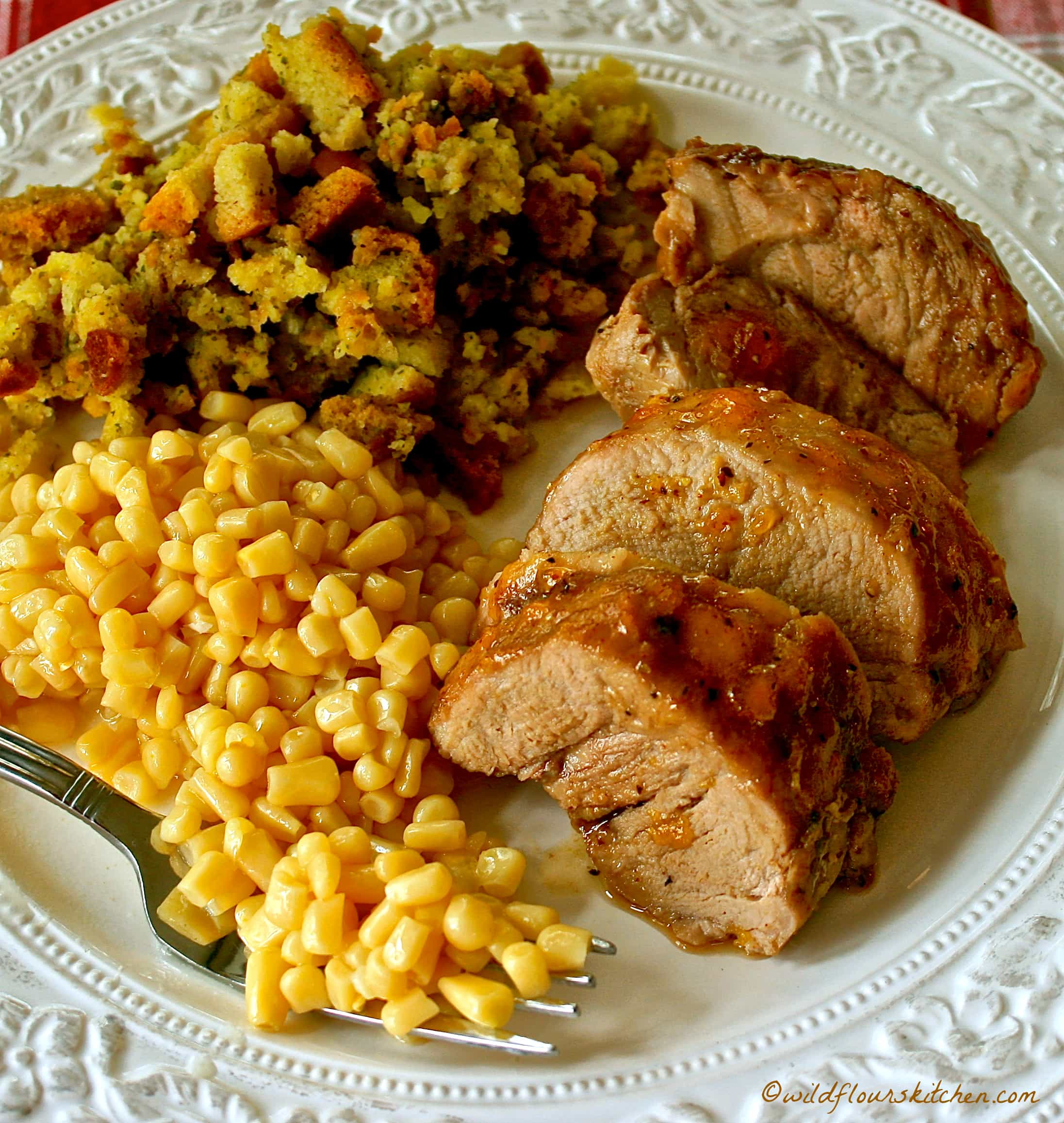 Pork Tenderloin Meal: Easy Peachy Honey Mustard Roast Pork Tenderloin