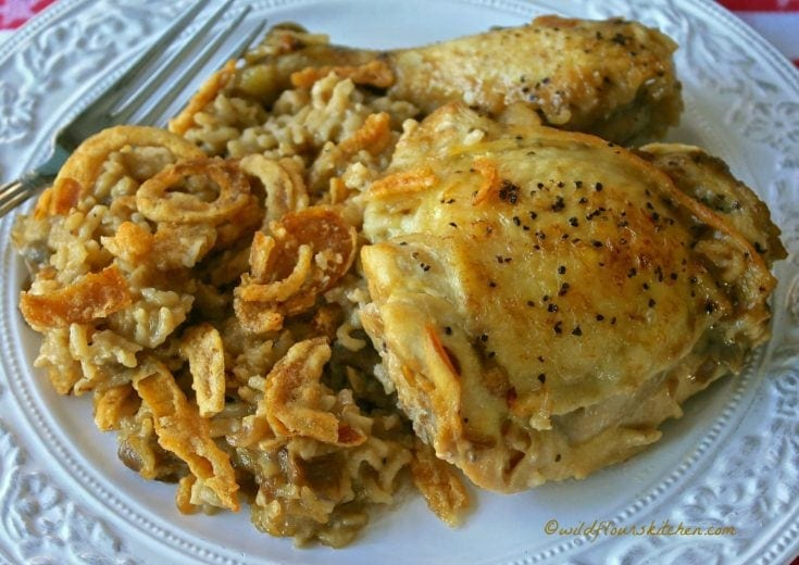 Cream of Mushroom and French Onion Chicken and Rice Casserole