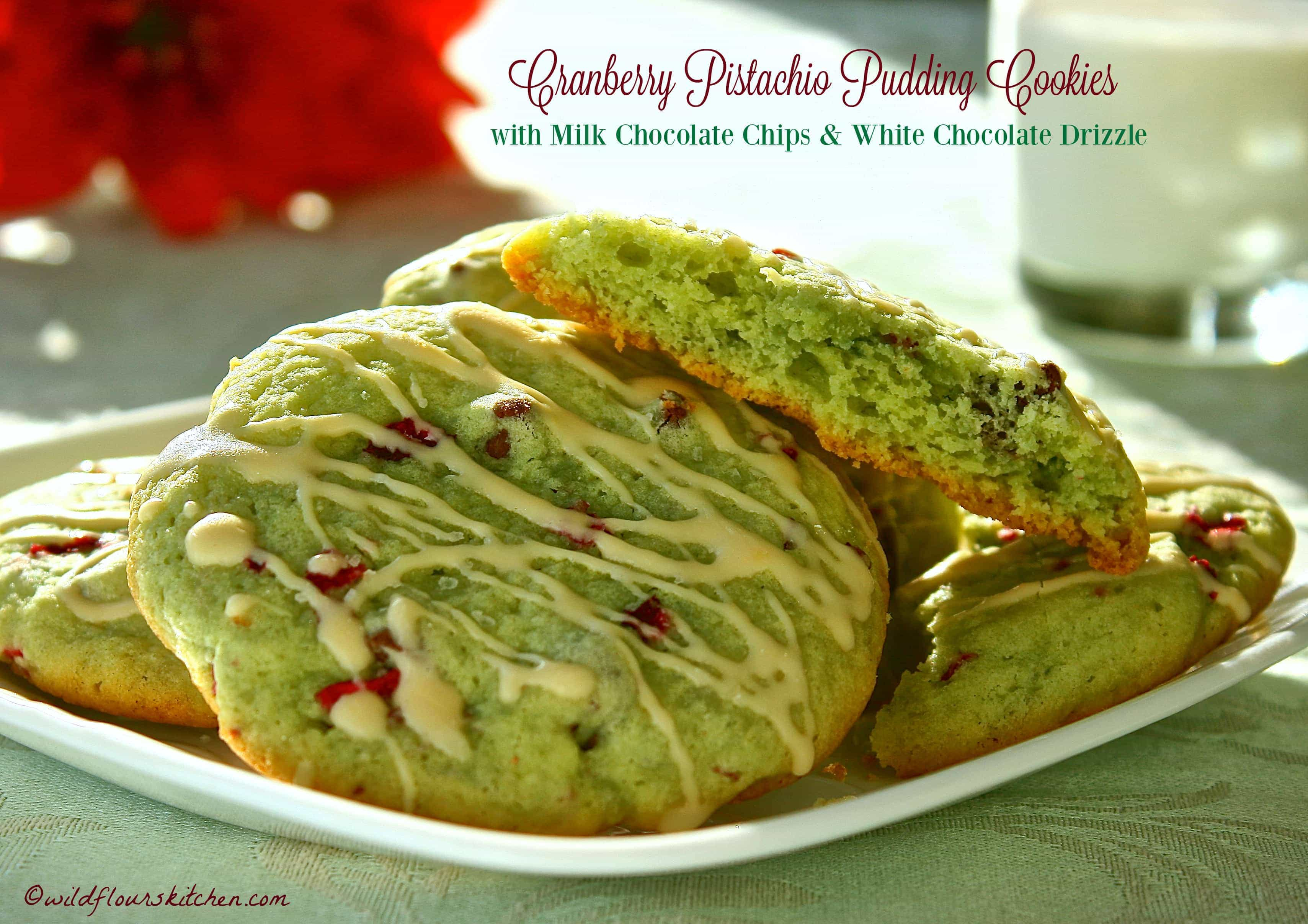 Cranberry Pistachio Pudding Cookies with Milk Chocolate Chips ...
