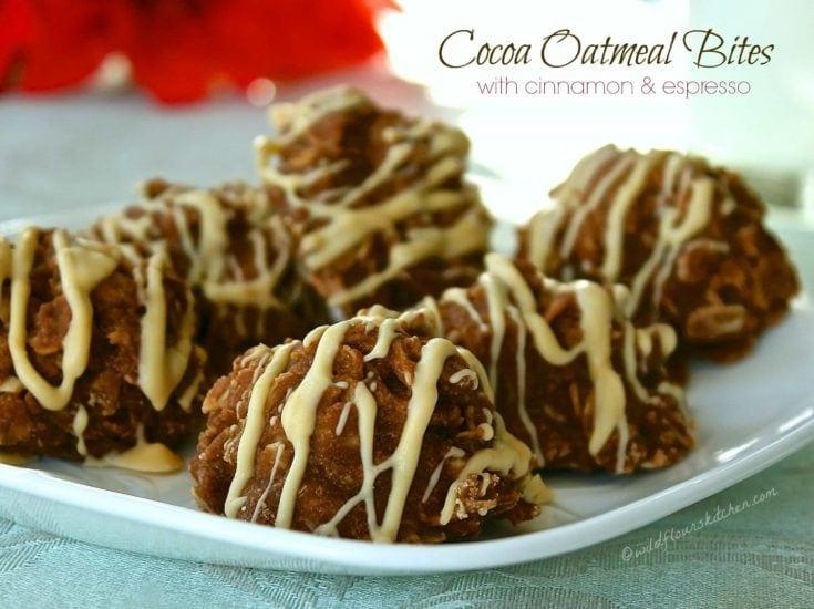 Cocoa Oatmeal Bites with Cinnamon, Espresso & White Chocolate Drizzle