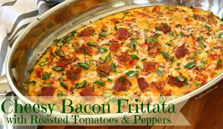 Cheesy Bacon Frittata with Roasted Tomatoes & Peppers