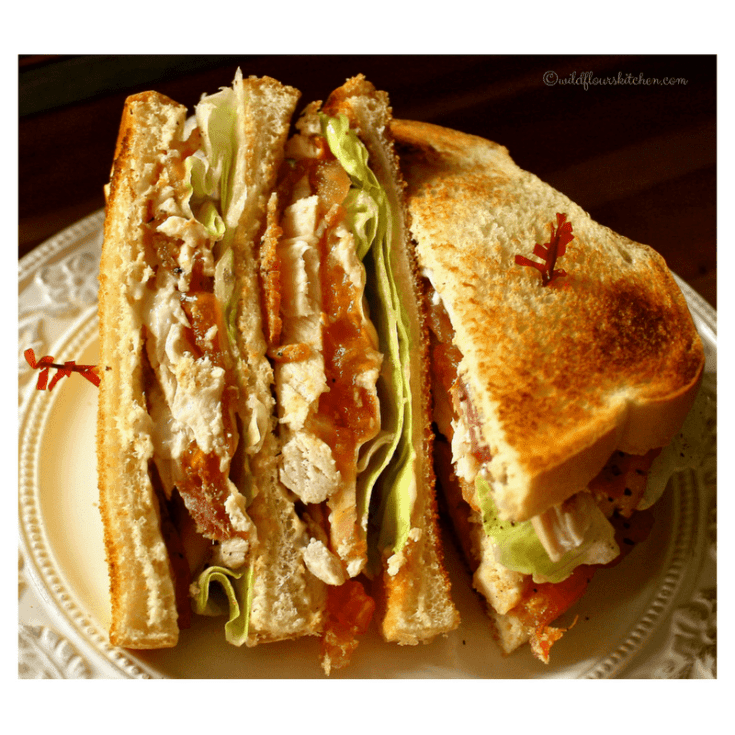Slow Roasted Chicken Club with Bacon, Swiss & Honey Mustard Sauce