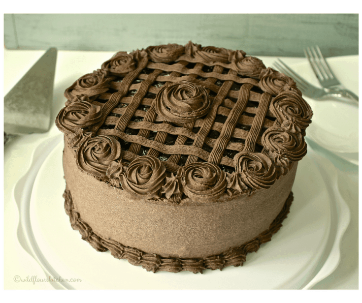 Special Dark Chocolate Layer Cake with Black Sweet Cherries