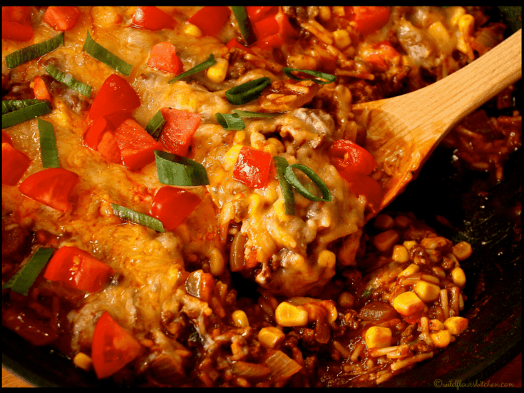 One Pan Southwestern Ground Beef & Dirty Rice Casserole